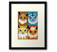 Pokemon Eeveelutions - Jolteon Flareon Vaporeon Eevee Framed Print