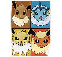 Pokemon Eeveelutions - Jolteon Flareon Vaporeon Eevee Poster