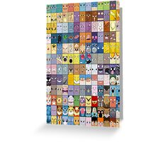 Original Kanto 151 First Generation Poster Greeting Card