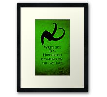 Tom Hiddleston Waits on the Last Page Framed Print