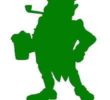 Green Leprechaun With Beer Silhouette by kwg2200