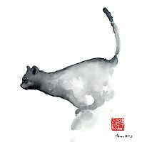 Cat Grey Black Blue Navy Funny Kitten Jump Meow Watercolor Painting by Johana Szmerdt