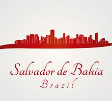 Salvador de Bahia skyline in red by Pablo Romero