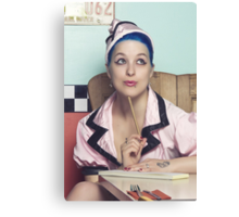 Retro waitress at the diner Canvas Print