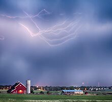 Lightning Storm And The Big Red Barn by Bo Insogna