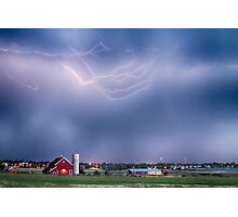Lightning Storm And The Big Red Barn Photographic Print