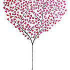 Red Hearts Tree by Julie Anne