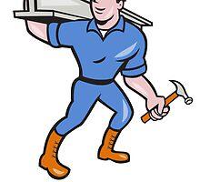Construction Steel Worker Carry I-Beam Cartoon by patrimonio