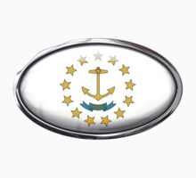 Rhode Island Flag in Glass Oval by Ovals