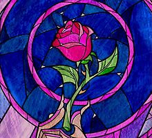 Beauty and the Beast Stain Glass Rose Case by Marcel Putrus