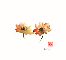 SUMMER Orange Green Flower Flowers Autumn Moments watercolor painting by Johana Szmerdt