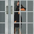 Guard Dog Doberman Pinscher by Janet Carlson