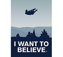 My I want to believe minimal poster-millennium falcon Photographic Print