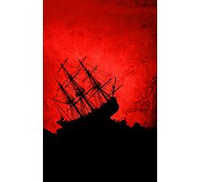 Red Storm Tossed Ship Photographic Print
