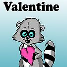 Be My Valentine Raccoon by Rajee