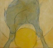 BLUE HORSE STRADDLING YELLOW BALL by dkatiepowellart