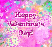 Happy Valentines Day grunge hearts greeting card and poster by Mariannne Campolongo