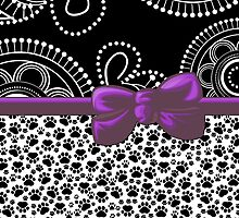 Dog Paws, Traces, Dots - Ribbon and Bow - White Black Purple by sitnica