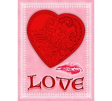 Victorian Heart with a Kisss Photographic Print