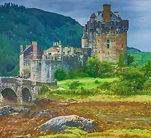 Eilean Donan Watercolour effect 2 by Chris Thaxter