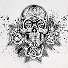 Skull and Roses by biancababee