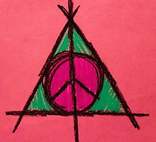 Peach and Green Deathly Hallows and Peace Drawing by Amber Batten