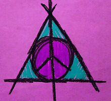 Purple and Green Deathly Hallows and Peace Drawing by Amber Batten