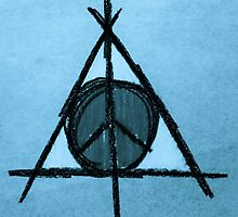 Baby Blue Tint Deathly Hallows and Peace Drawing by Amber Batten