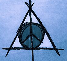 Sky Blue Deathly Hallows and Peace Drawing by Amber Batten