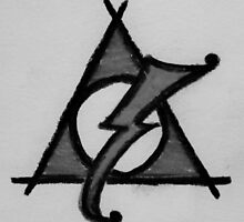 Black and White Deathly Hallows and Scar by Amber Batten