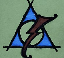 Green, Blue and Red Deathly Hallows Scar by Amber Batten