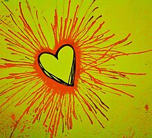 Yellow and Red Exploding Heart by Amber Batten