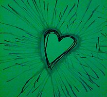 Green Exploding Heart by Amber Batten