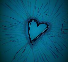 Deep Blue Exploding Heart by Amber Batten