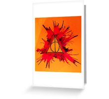 Orange, Purple and Red Exploding Deathly Hallows Greeting Card
