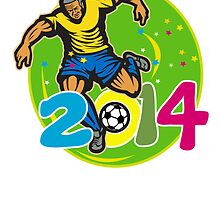Brazil 2014 Football Player Kick Retro by patrimonio