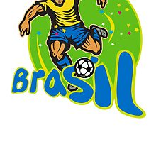 Brazil Football Player Kicking Ball Retro by patrimonio
