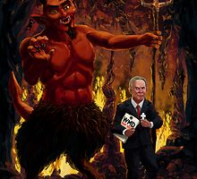 Tony Blair in Hell with Devil and holding Weapons of Mass Destruction document by martyee