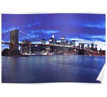 New York City Skyline Blue Poster