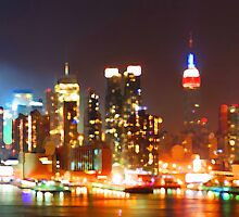 New York City Orange Skyline by JessicaRoss