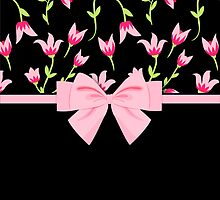 Modern Tulips and Ribbons Pink Black by Pixelchicken