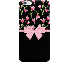 Modern Tulips and Ribbons Pink Black iPhone Case/Skin