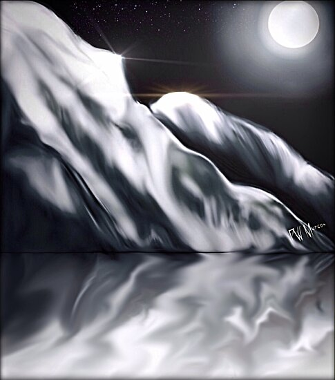 Icy Hills Under Moon by Penny Marcus