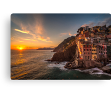 Riomaggiore Sunset Rolling Waves Canvas Print