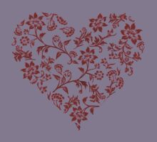 Red Floral Heart Kids Clothes