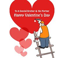 Valentine's Day Brother & Partner Cards, Red Hearts, Painter Cartoon by Sagar Shirguppi