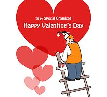 Valentine's Day Grandson Cards, Red Hearts, Painter Cartoon by Sagar Shirguppi