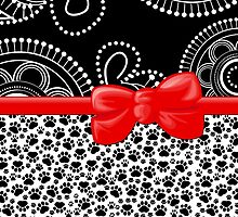 Dog Paws, Traces, Dots - Ribbon and Bow - White Black Red by sitnica