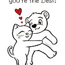 You're the Best Cat and Bear Valentine's Day Card by misook