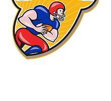 American Football Running Back Rushing Shield Cartoon by patrimonio